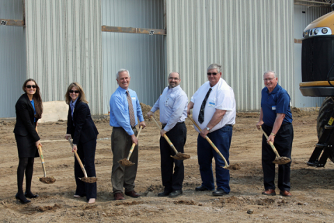 Eric Fisher, AGCO Jackson, third from right, was joined by local officials for a groundbreaking cere ...