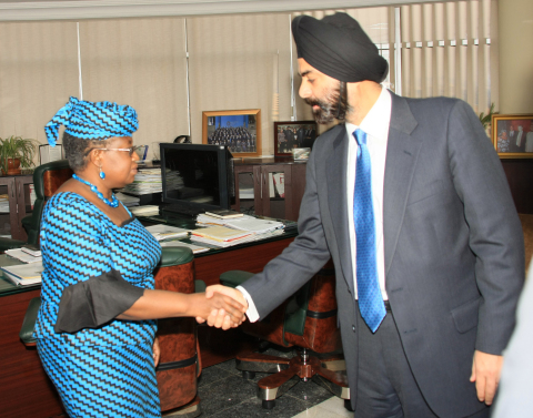 Earlier this year Ajay Banga commended the Finance Minister of Nigeria Ngozi Okonjo-Iweala and the Central Bank Governor Sanusi Lamido on the Cashless Nigeria initiative and discussed MasterCard's commitment to supporting a widespread national identification program in the country.