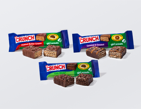 The award winning Nestle Crunch Girl Scout Candy Bars, return for a limited time only this June. Available in Thin Mints(TM), Caramel & Coconut, and Peanut Butter Creme; the bars are available for a limited time pre-sale at Facebook.com/NestleCrunch. (Photo: Business Wire)