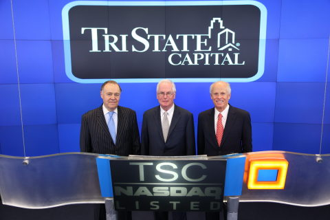TriState Capital's founders ring the NASDAQ opening bell on the company's first day of trading, Thur ...
