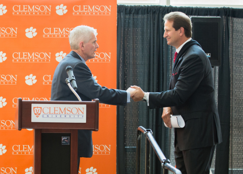 James Barker, president of Clemson University, welcomes David Seaton, Fluor chairman and CEO. (Photo ...