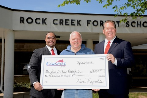 (L-R): Cardinal Bank Vice President and Bethesda Banking Office Manager Ron Harriday; Kids In Need Distributors President Jeremy Lichtenstein; and Cardinal Senior Vice President and Market Executive Robert R. Giraldi. (Photo: Mattox Photography)
