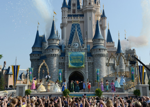 "The Disney Princess royal court welcomes its newest princess, the brave and passionate Merida, from Disney-Pixar's ""Brave,"" in a regal celebration May 11, 2013, at Cinderella Castle in Magic Kingdom at Walt Disney World Resort in Lake Buena Vista, Fla. (Photo: Business Wire)"