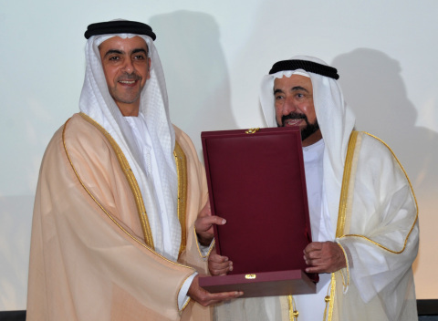 Lt. General HH Sheikh Saif bin Zayed Al Nahyan (left) receiving the award from HH Sheikh Dr. Sultan Bin Mohammad Al Qasimi (right). (Photo: Business Wire)