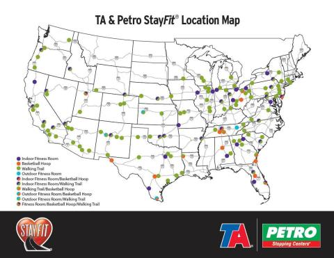 TA/Petro StayFit location map showing FREE indoor and outdoor fitness rooms, walking trails and basketball hoops at more than 140 sites. (Graphic: Business Wire)