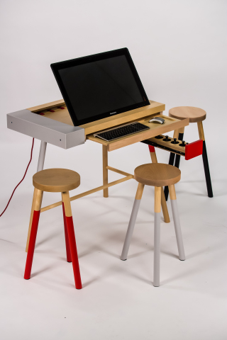 Digital creation station AT-UM mixes the Lenovo Horizon Table PC with studio furniture to serve as a table, desk and easel. (Photo: Business Wire)