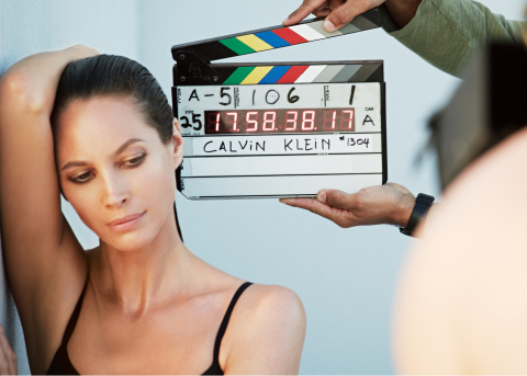 Christy Turlington Burns on the set of the Fall 2013 Calvin Klein Underwear advertising campaign sho ...