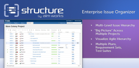 Structure by ALM Works helps large enterprise JIRA customers organize their issues into clean hierarchies that can span multiple projects, with additional support for agile teams, requirement sets, and test suites. (Graphic: Business Wire)