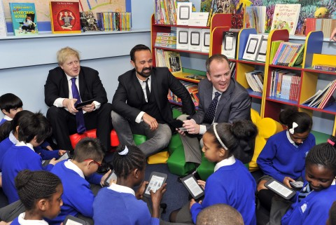 Boris Johnson, Mayor of London, Evgeny Lebedev, owner of the London Evening Standard and The Independent and Jim Hilt, Managing Director Barnes & Noble meet at St Mary's Catholic Primary School, Battersea and read to children on NOOK tablets in support of the Get Reading Campaign. (Photo: Business Wire)