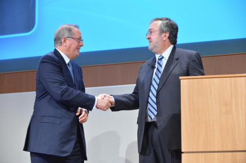 Intel Corp. Chairman Andy Bryant thanks former CEO Paul Otellini for his 39 years of service at Intel's annual shareholder meeting on Thursday. (Photo: Business Wire)