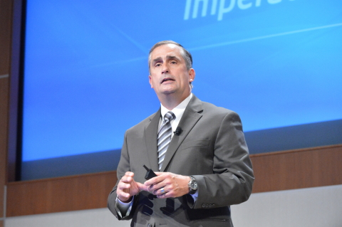 Intel Corp.'s new CEO, Brian Krzanich, presents at Intel's annual shareholder meeting on Thursday. (Photo: Business Wire)