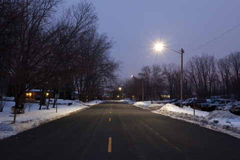 Xcel Energy has installed GE's Evolve(TM) Cobrahead fixtures in West St. Paul, Minn., in a pilot project to measure the performance of LED street lighting. (Photo: General Electric)