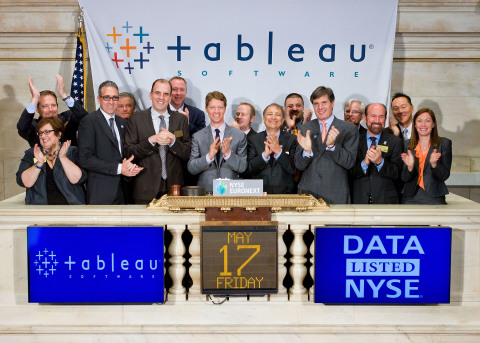 Tableau Software CEO and Co-founder Christian Chabot, joined by members of the company's leadership ...