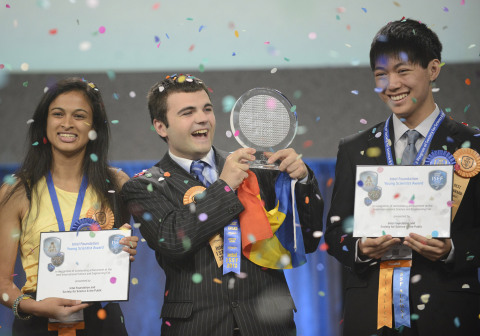 May 17, 2013 - Top winner Ionut Budisteanu, 19, of Romania (center) with second-place winners Eesha Khare, 18, of Saratoga, Calif. (left) and Henry Lin, 17, of Shreveport, La. celebrate their awards at the Intel International Science and Engineering Fair, the world's largest high school science research competition. More than 1,600 high schoolers from 70 countries, regions and territories competed for more than $4 million in awards this week. PHOTO CREDIT: Intel/Chris Ayers