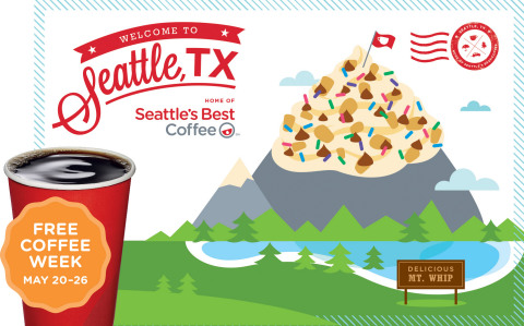 "Free Coffee Week, May 20-26: The 10 new Seattle's Best Coffee drive-thrus will pour FREE iced or hot brewed coffee of any size all week to welcome Dallas-area coffee drinkers to experience ""Seattle, TX."" Fans can upgrade to a FREE 12 oz specialty drink by visiting the Seattle's Best Facebook Page and asking three friends to ""visit Seattle, TX"" during Free Coffee Week. (Graphic: Business Wire)"
