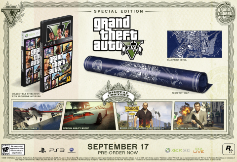Rockstar Games is very proud to announce full details of the Special Edition and Collector's Edition of Grand Theft Auto V(R) for the PlayStation(R)3 computer entertainment system and Xbox 360(R) video game and entertainment system from Microsoft, that are now available for worldwide pre-order from participating retailers. (Photo: Business Wire)