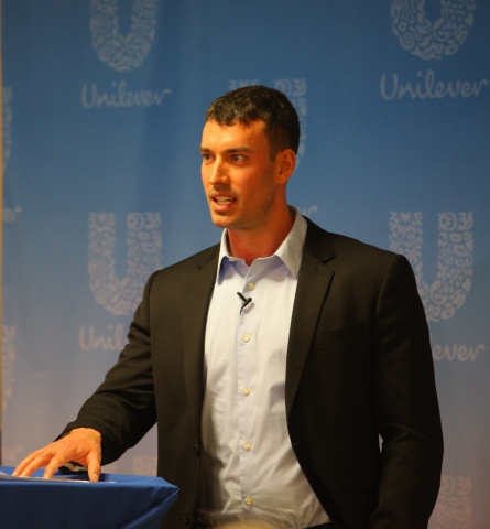 Dan Koah, Unilever Manufacturing Manager who completed two tours as a Marine in Iraq, speaks at an event in Englewood Cliffs, NJ, on May 22, at which Unilever announced its commitment to supporting ASM in training and hiring 300 U.S. Military veterans by 2015.