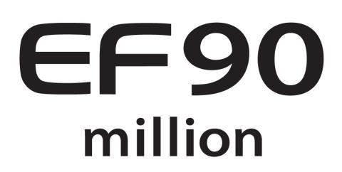 90 Million EF lenses Commemorative logo