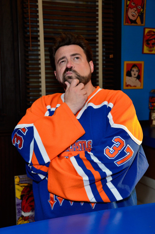 Kevin Smith ponders his theory as to how the Man of Steel shaves (Brian Killian/Getty)