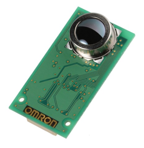 Omron's new vacuum-sealed MEMS non-contact thermal sensor, the first of its kind in the world. (Phot ...