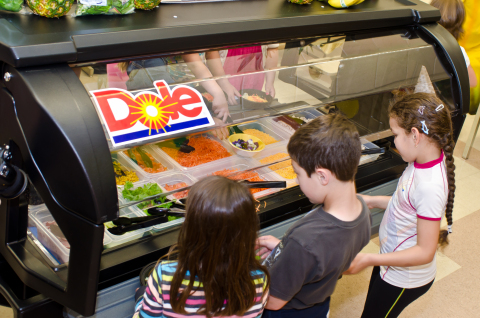 Fogelsville Elementary School students enjoy their new salad bar donated by Dole Food Company and Gi ...