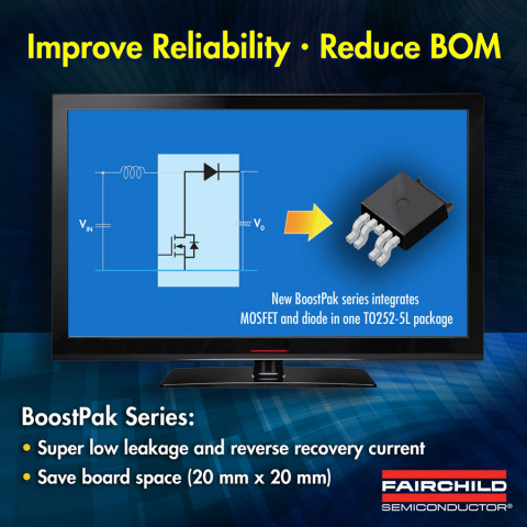 Fairchild Semiconductor's 100V BoostPak Solution Provides Improved Reliability, Reduces System Costs in LED Applications (Graphic: Business Wire)