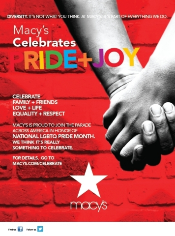 Macy's marks National Pride Month celebrations with nationwide initiatives including sponsorship and participation in 23 Pride parades