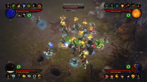 Four players battle a group of demonic warriors in the Xbox 360 version of Diablo III. (Graphic: Business Wire)