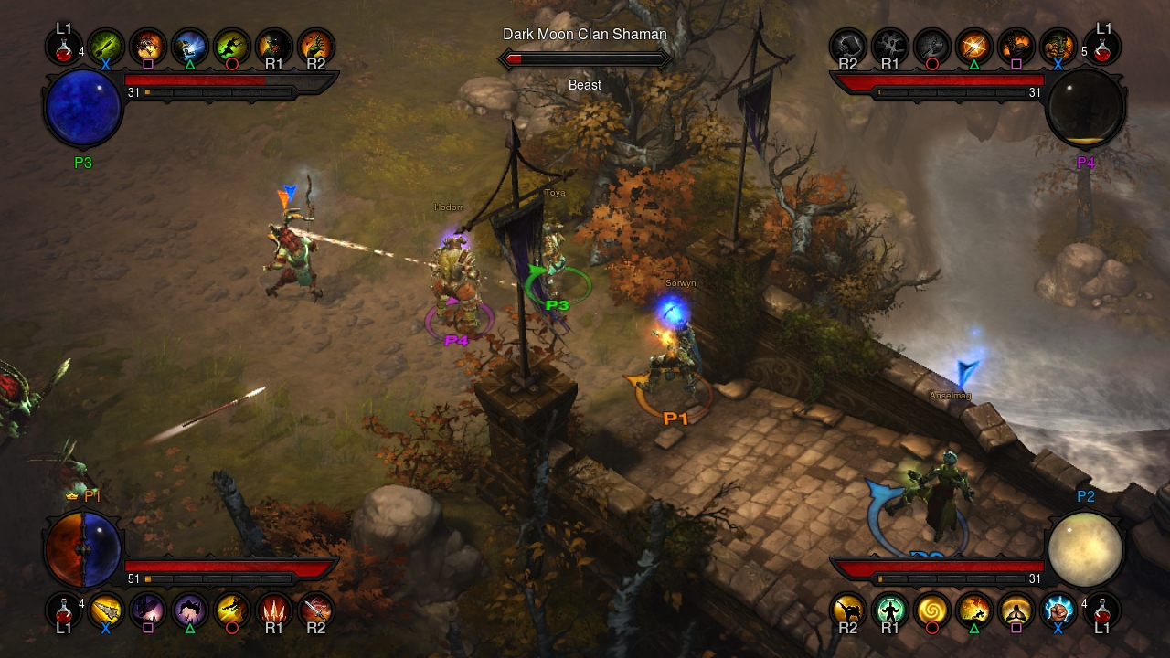 Four players team up to take on the minions of the Burning Hells in the PS3 version of Diablo III. (Graphic: Business Wire)