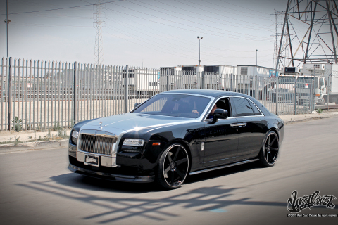 West Coast Customs founder Ryan Friedlinghaus had the hood of his Rolls Royce Ghost wrapped with Ave ...