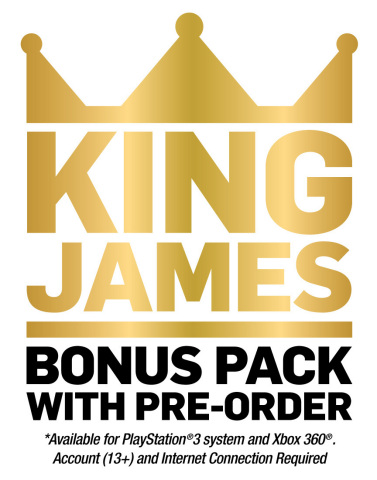 NBA 2K14 King James Bonus Pack Available with Pre-Order with PS3 and Xbox 360 (see details that apply). (Graphic: Business Wire)