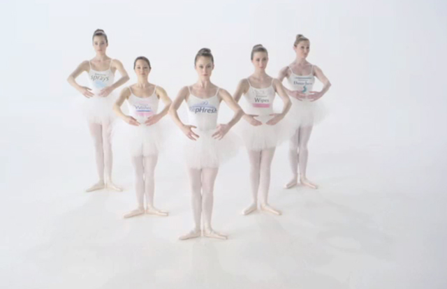 """A quintet of ballerinas representing various feminine hygiene products set the stage with RepHresh Vaginal Gel in the forefront. As the ballerinas attempt to balance """"en pointe,"""" RepHresh dances on as the others fall in an unballerina-like fashion. Research shows that women are becoming better educated about how important pH is to feminine health, but they are confused by the claims they see at the shelf."""