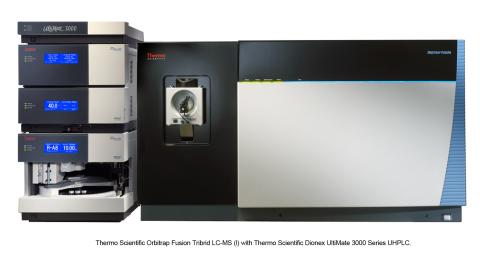 Thermo Scientific Orbitrap Fusion LC-MS with Thermo Scientific Dionex UltiMate 3000 Series UHPLC, on ...
