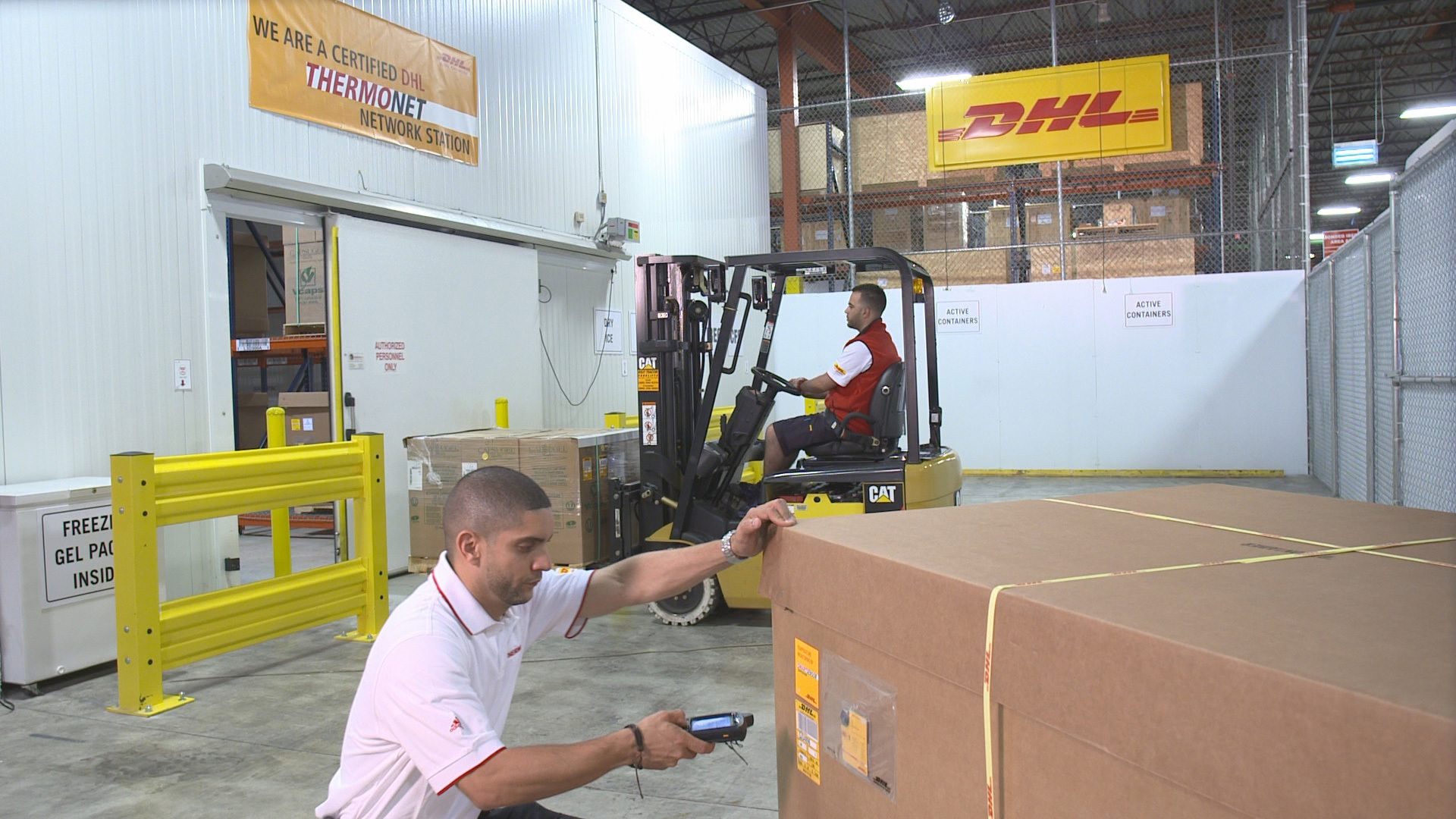 DHL Global Forwarding employees working at one of the DHL THERMONET-Life Sciences certified facilities. (Photo: Business Wire)