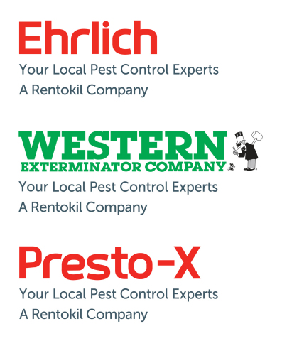 Ehrlich Pest Control, Western Exterminator, and Presto-X Pest Control are all part of the Rentokil family of companies in North America and provide commercial and residential pest control, bioremediation, bird control, vegetation management, deer repellent services, wild-animal trapping, and termite control. (Graphic: Business Wire)