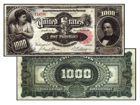 The $1000 Series of the 1891 Silver Certificate graded Very Fine 25 by PMG, sold by Stack's Bowers G ...