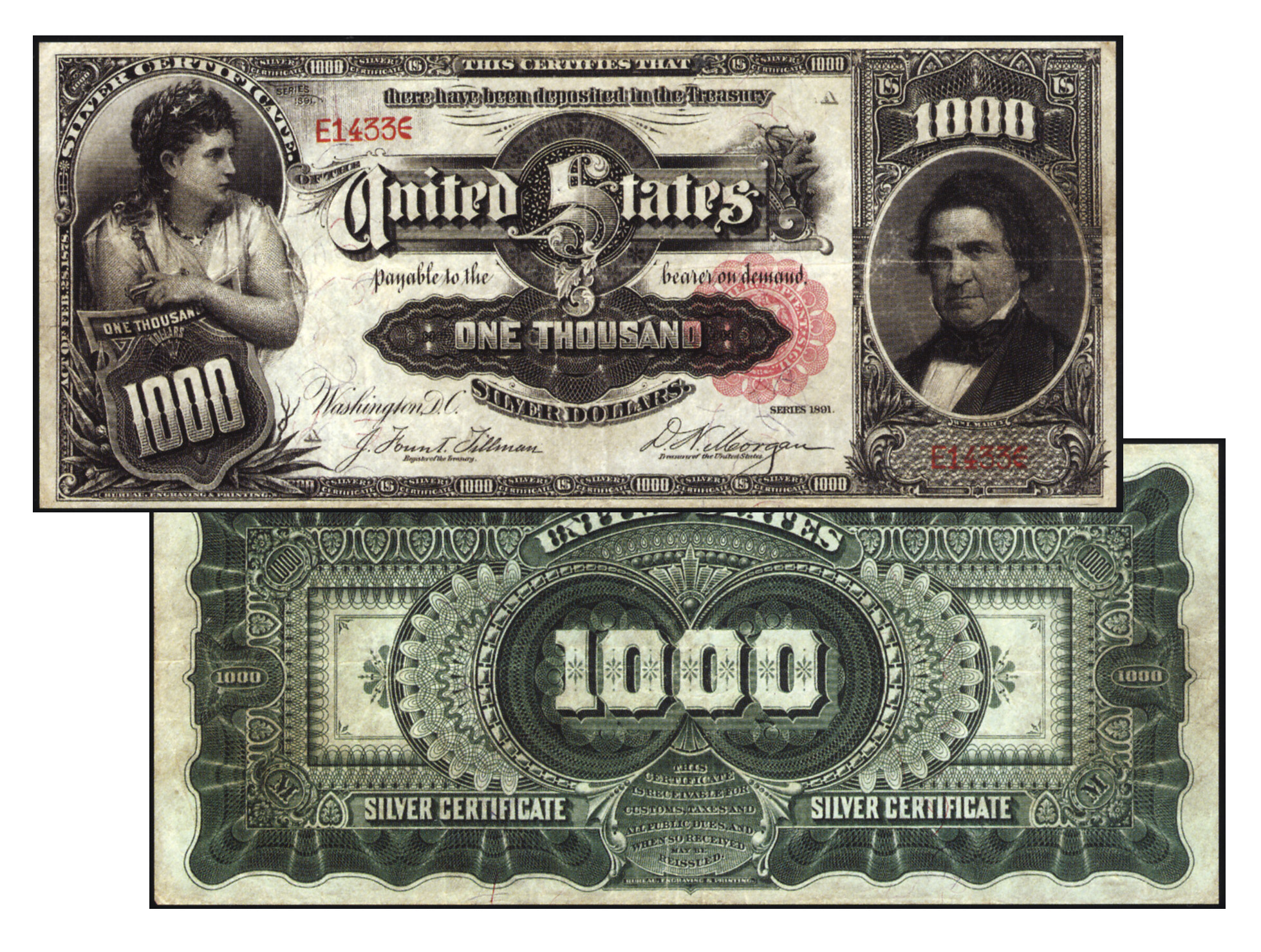 Stacks Bowers Galleries Sells 1891 1000 Marcy Silver Certificate