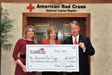 (L-R): Katy Adams, Marketing Manager, Clyde's Restaurant Group; Linda Mathes, Chief Executive Officer, American Red Cross in the National Capital Region; and F. Kevin Reynolds, President, Cardinal Bank. (Photo: Cardinal Bank)