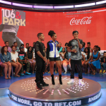 """Hip-Hop star Diggy joins BET's """"106 & PARK"""" hosts Bow Wow and Angela Simmons to announce his partnership with Coca-Cola on its """"AHH Effect"""" campaign that will give amateur artists an opportunity to perform with the rapper this fall. (Photo Credit: BR Photo Creations)"""