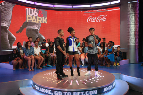 "Hip-Hop star Diggy joins BET's ""106 & PARK"" hosts Bow Wow and Angela Simmons to announce his partnership with Coca-Cola on its ""AHH Effect"" campaign that will give amateur artists an opportunity to perform with the rapper this fall. (Photo Credit: BR Photo Creations)"