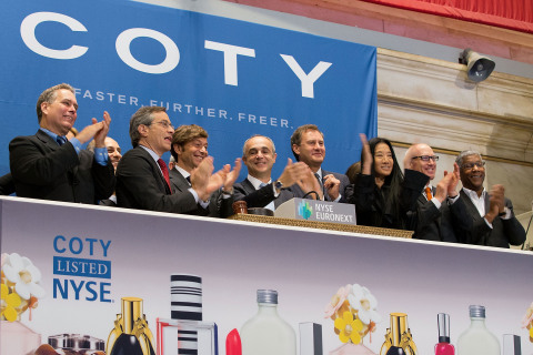 Coty Inc. CEO Mr. Michele Scannavini, joined by Coty's Executive Committee and a group of business partners, ring the NYSE Opening Bell® to celebrate the company's IPO and first day of trading on the NYSE. (Photo: Business Wire)