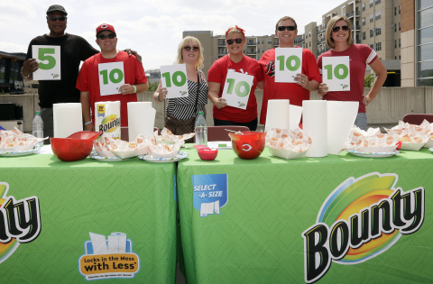 Former Cincinnati Reds star, Lee May, left, and other judges of the Tastiest Ballpark Mess Contest p ...