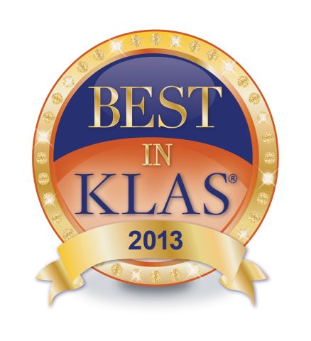 """The """"2013 Best in KLAS Awards: Medical Equipment & Infrastructure"""" report cites Carestream Health as receiving the highest score against seven competitors in the digital X-ray category. (Graphic: Business Wire)"""