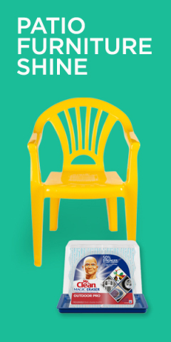 Clean your patio furniture with Mr. Clean Magic Eraser Outdoor Pro to powerfully remove dirt and the drab look after the long winter (Graphic: Business Wire)