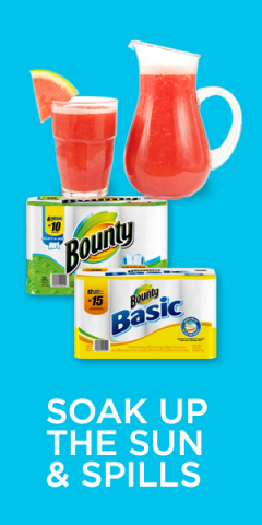 Soak up the sun and spills: be prepared for every type of summertime mess with Bounty Select-A-Size and Bounty Basic (Graphic: Business Wire)