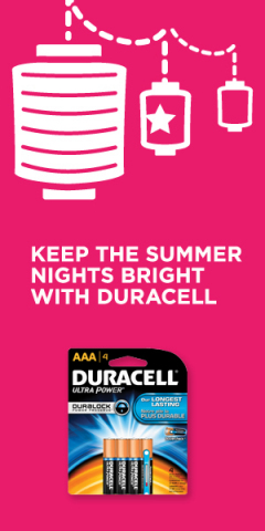 Keep the summer nights bright with Duracell batteries, now guaranteed for up to 10 years in storage (Graphic: Business Wire)