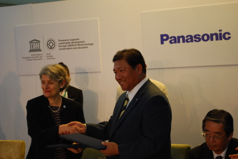 Irina Bokova, UNESCO Director-General, and Takumi Kajisha, Senior Managing Executive Officer of Pana ...