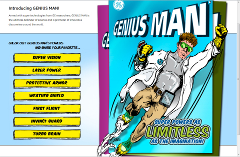 GE's high-tech superhero, GENIUS MAN. (Graphic: Business Wire)