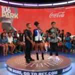 """La estrella del hip-hop Diggy se une a los anfitriones de """"106 & PARK"""" de BET, Bow Wow y Angela Simmons, para anunciar su asociación con Coca-Cola en su campaña """"AHH Effect"""" (El efecto AHH) que ofrecerá a los artistas aficionados la oportunidad de actuar con el artista rapero este otoño. (Photo: Business Wire)"""