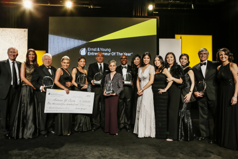 June 18, 2013 - Ernst & Young announces 2013 Entrepreneur Of The Year award recipients. From left to right: Brian Ring, Ernst & Young Partner and EOY Program Director; Christine Devine, KTTV Fox 11; Moctesuma Esparza, CEO, Maya Cinemas North America, Inc., Antonia Castro, Cool Sleeve; Katharyn Howroyd, daughter of award recipient Janice Bryant Howroyd, CEO, The Act 1 Group; Sam Naficy, President & CEO, DTT; Helene An, Executive Chef, House of An; Clarence Daniels Jr., Chairman & CEO, Concession Management Services, Inc; Monique An, Managing Partner, House of An; Catherine An, Managing Partner, House of An; Jacqueline An, Managing Partner, House of An; Hannah An, Managing Partner, House of An; Elizabeth An, Managing Partner, House of An; Bob Sinnott, CEO, Kayne Anderson Capital Advisors, L.P.; and April Spencer, Ernst & Young Partner and EOY Program Director. Not pictured, Jeff Stibel, Chairman & CEO, Dun & Bradstreet Credibility Corp. (Photo: Business Wire)